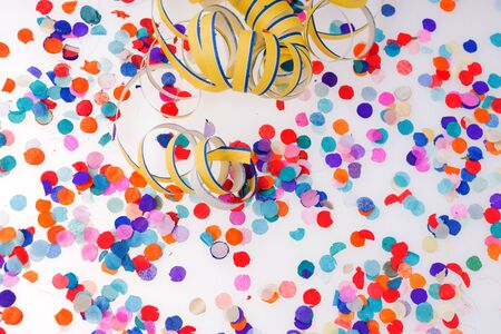 Colorful confetti isolated on white background. Rainbow colored confetti
