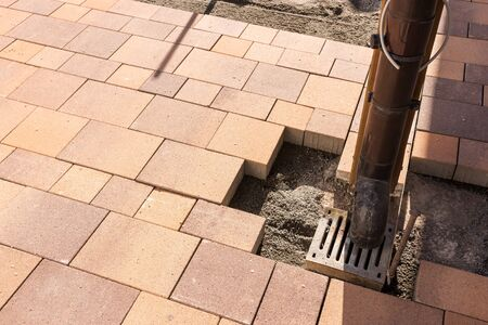 New pavers lay on the construction site