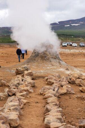 Steaming sulfur fumaroles at geothermal area Hverir in Iceland. europe