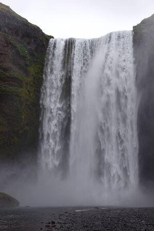 Waterfall Skogafoss in Icelandic nature landscape. europe