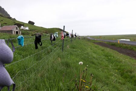 The Bra fence on the main road near waterfall Skogafoss. iceland