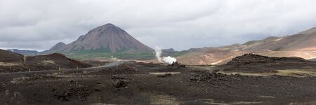 Panoramic image. Typical volcanic landscape in Iceland. europe