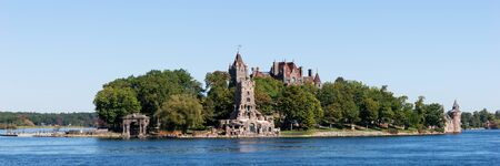 Panorama from the historic Boldt Castle in the 1000 Islands region of New York State on Heart Island in St. Lawrence River