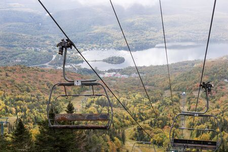 View of the old funicular or cable car in the mountains of the city Mont-Tremblant. canada