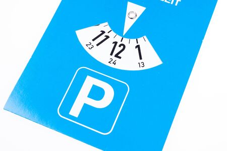 Blue german parking disc set to 12 or midnight