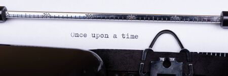 Once upon a time, written with an old typewriter. Panoramic image