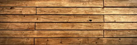 Antique wooden panel panoramic background. Brown wood texture 版權商用圖片