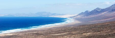 Panoramic view of the beach of Cofete. Fuerteventura, Canary Islands, Spain. Travel destination