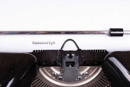 The word Manuscript typed on retro black typewriter 스톡 콘텐츠 - 142444567