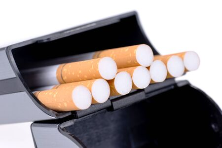 Cigarette box isolated on white. Stop smoking concept