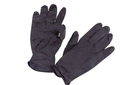 Pair of black rubber gloves for protection