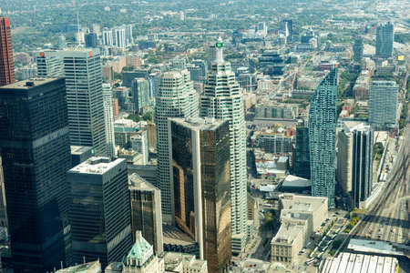Toronto, Canada October 01 - 2019. Aerial view of Toronto's downtown showing skyscraper skyline of corporate business buildings