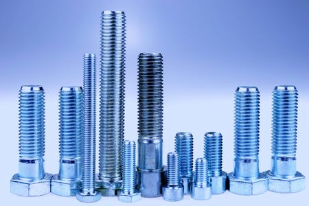 Blue metal city, city made with bolts. Bolts standing like a skyline Stock Photo