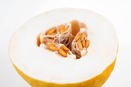 Half honeydew melon isolated on white background Stock Photo