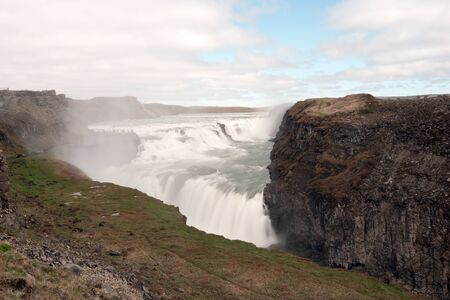 Long time exposure of the Gullfoss waterfall in Iceland. Europe