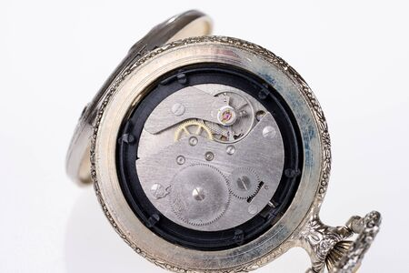 Back of an old mechanical pocket watch