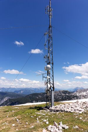 Telecommunication antenna tower and Radio antenna tower on the mountain