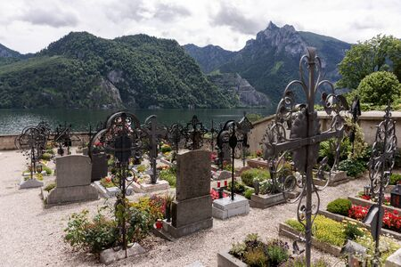 Cemetery with a view of the lake and the mountains