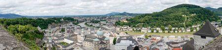 Rooftops buildings cityscape of Salzburg. Panoramic view of Salzburg. Salzburg architecture landscape. Austria 免版税图像 - 150316452