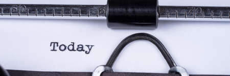Today word typed on a vintage typewriter. Panoramic image 版權商用圖片