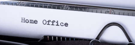 Home office. Text written with an old typewriter. Panoramic image