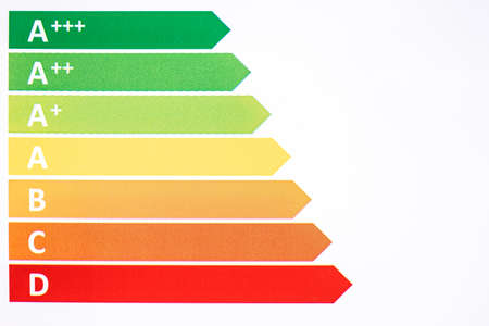 Energy efficiency rating. Ecological classes in the European union Archivio Fotografico