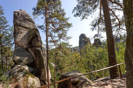 Majestic sandstone rock walls, nature tourism destination. Adrspach rock city, Czech Republic, Europe