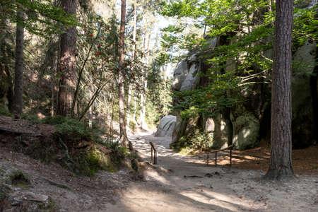 Hiking path through the majestic sandstone rock walls. Adrspach rock city, Czech Republic, Europe 写真素材