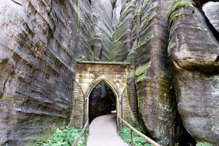 Gothic Gate in the majestic sandstone rock walls. Adrspach rock city, Czech Republic, Europe