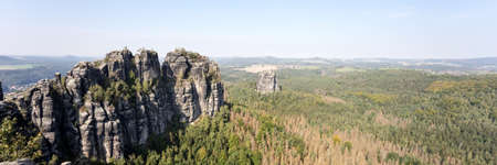 Panoramic view on the schrammstein rocks in saxon switzerland. Saxony. Germany
