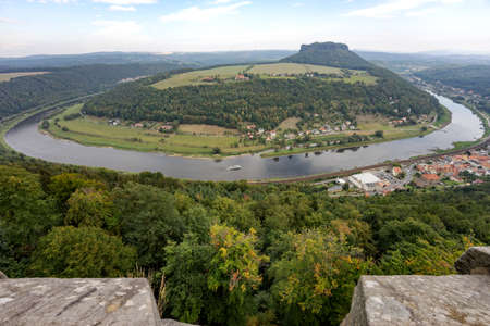 View from Koenigstein  to a bend of river Elbe in Saxony Switzerland. Germany 免版税图像