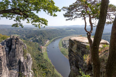 View from Bastei rocks to river Elbe in Saxony Switzerland. Germany