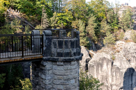 The Bastei Bridge in the Elbe Sandstone Mountains of Saxon Switzerland. Germany 免版税图像