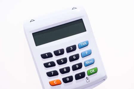 White optical chip TAN generator isolated. Online banking Standard-Bild