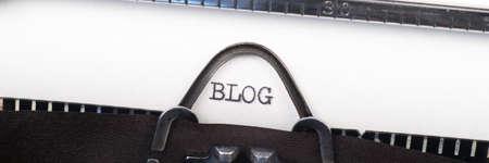 Blog - written on an old typewriter. Panoramic image
