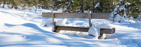 Empty wooden bench in deep snow. Panoramic image