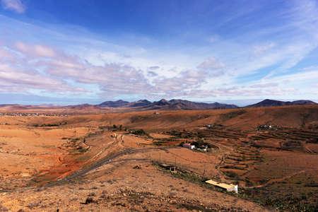 Landscape with beautiful cloudy sky in Fuerteventura. Canary Islands. Spain