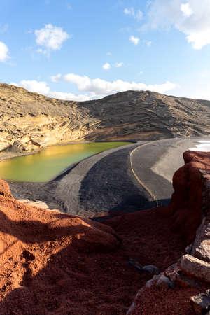 Lanzarote. Green Lagoon - Lago de los Clicos - near the town of El Golfo. Canary Islands