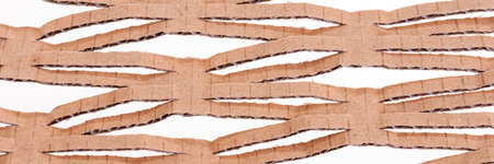 Panoramic image. Cardboard box pattern isolated on white background