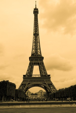 Vintage photo of Eiffel tower in Paris Stock Photo