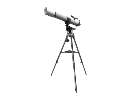 3D rendering of a telescope, isolated on white background Stock Photo