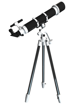 eyepiece: 3D rendering of a telescope, isolated on white background Stock Photo