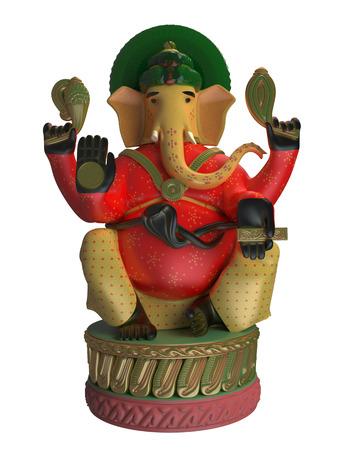 3D rendering of Ganesha isolated on white background