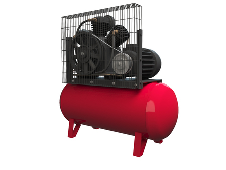 3D rendering air compressor, isolated on white background