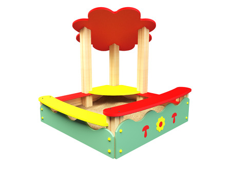baby playing toy: 3D rendering sandbox, isolated on white background