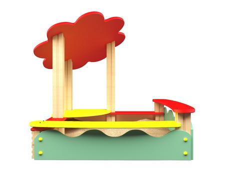 sandbox: 3D rendering sandbox, isolated on white background