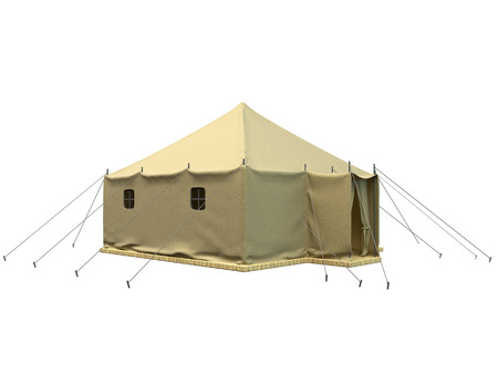 displaced: 3D rendering of a military tent, isolated on white background Stock Photo