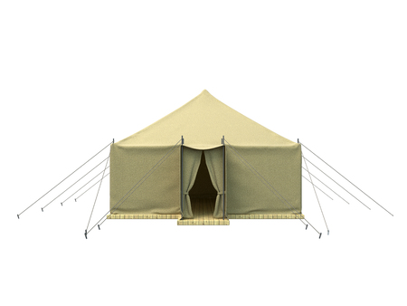large group of objects: 3D rendering of a military tent, isolated on white background Stock Photo