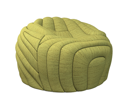 the footstool: 3D rendering ottoman, isolated on white background