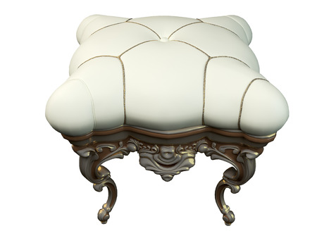 footstool: 3D rendering classic  ottoman, isolated on white background Stock Photo